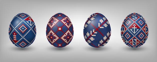 Ovos pascais decorados com padrões de tricô