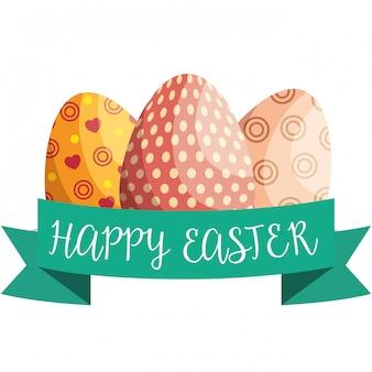 Ovos pintados feliz páscoa celebração cartão