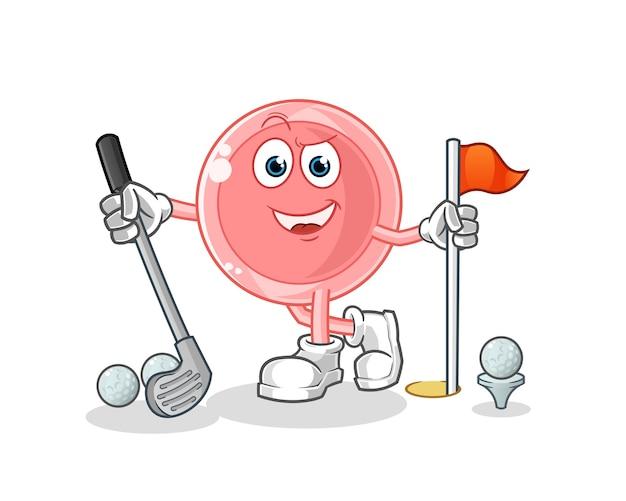 Ovum jogando golfe personagem de desenho animado