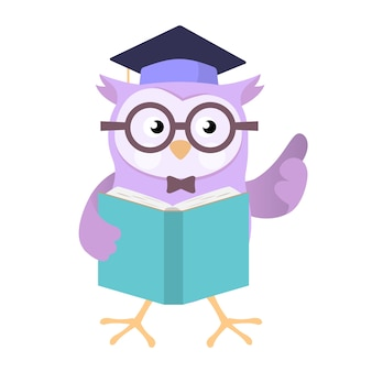 Owl wearing education cap segurando o livro vector cartoon