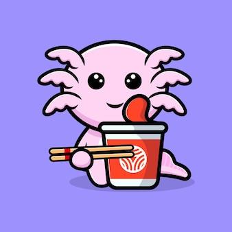 Oxolotl fofo com personagem de desenho animado de macarrão instantâneo