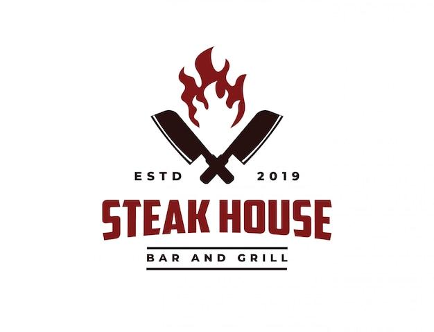 P faca de açougueiro e fogo vintage retro cafe bar steak house logo