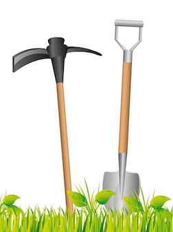 Pá e ferramentas sobre ilustração vetorial de fundo de grama