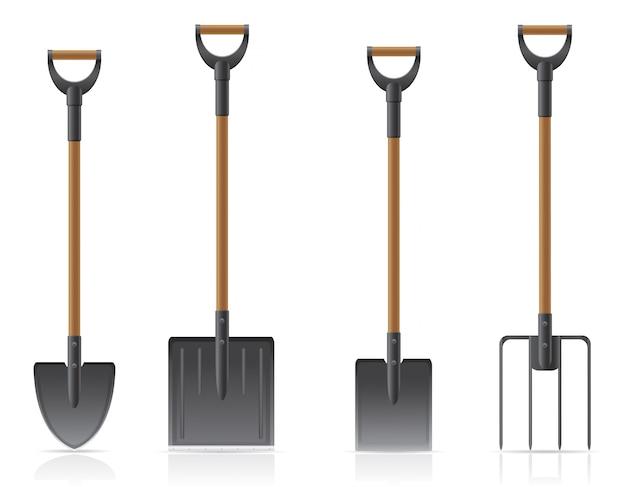 Pá e forcado da ferramenta de jardim.