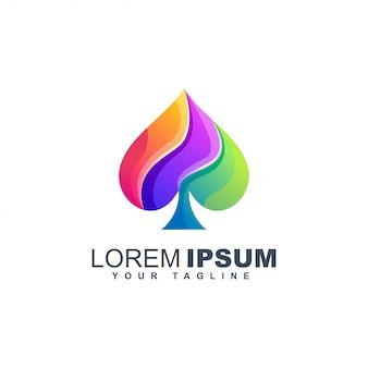 Pá símbolo baralho colorido design gradiente líquido