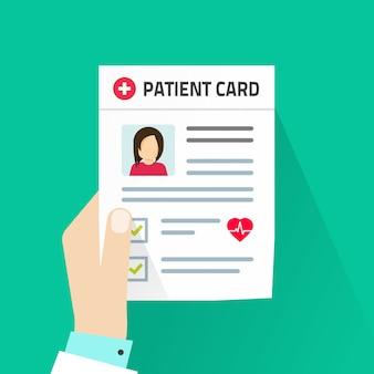 Paciente cartão médico documento ilustração em estilo cartoon plana