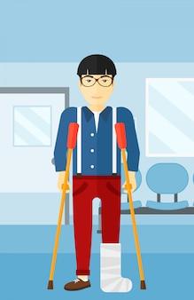 Paciente com a perna quebrada.