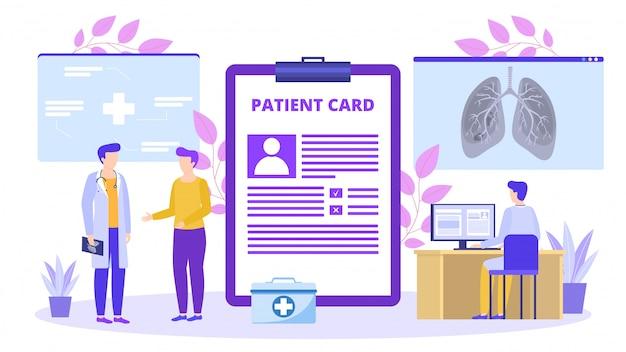 Paciente com cartão médico falar com o médico sobre ilustração de raio-x do pulmão.