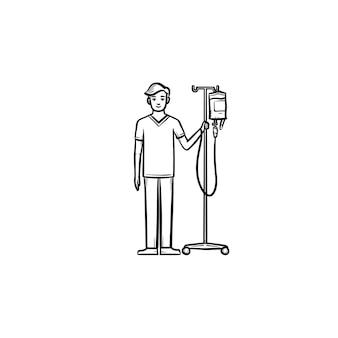 Paciente com ícone de doodle de contorno desenhado de mão de contador de queda. paciente do sexo masculino em pé com conta-gotas no braço