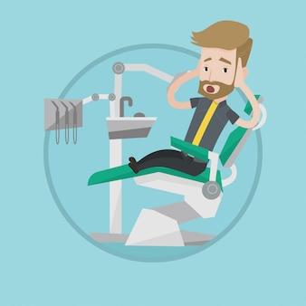 Paciente com medo em ilustração vetorial de cadeira odontológica