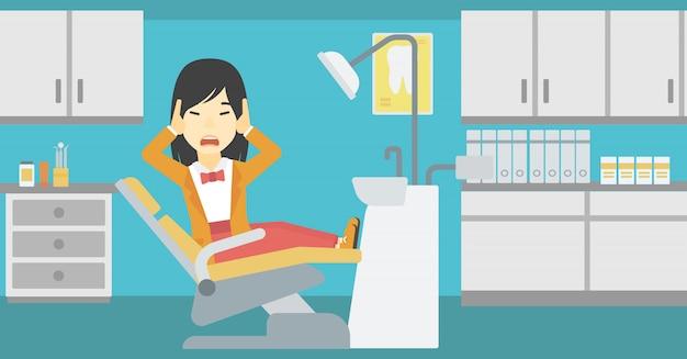Paciente com medo na cadeira odontológica