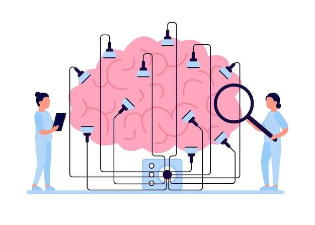 Paciente com procedimento de encefalografia cerebral com eletrodos na cabeça e diagnóstico médico eeg médico