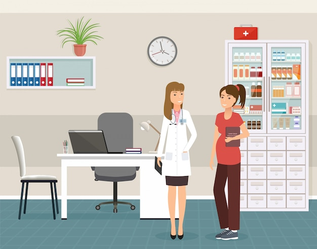 Paciente da mulher gravida na consulta de um doutor no escritório da clínica.