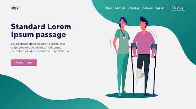 Paciente de apoio médico com perna quebrada
