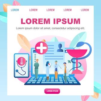 Paciente de doença de diagnóstico on-line de ilustração plana