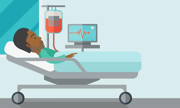 Paciente deitado na cama.
