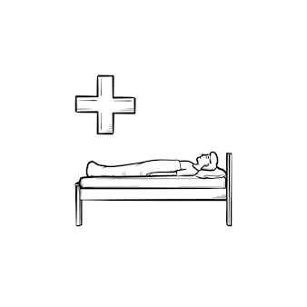 Paciente deitado no sofá ícone de esboço desenhado à mão