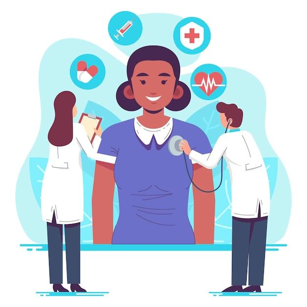 Paciente desenhado à mão plana fazendo um exame médico