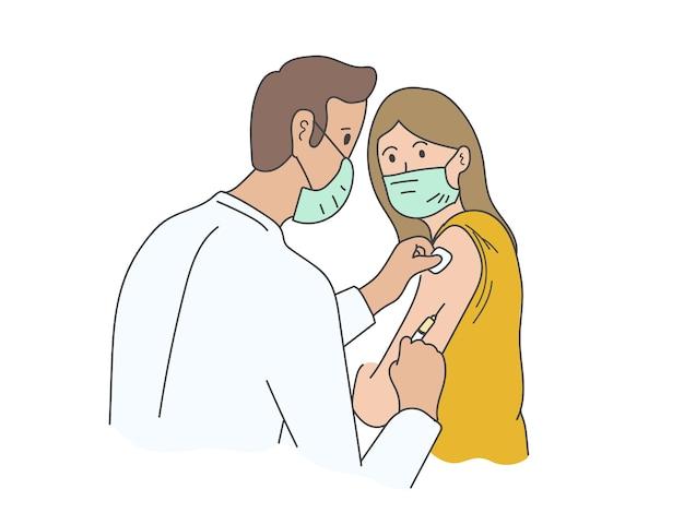 Paciente desenhado à mão usando máscara e recebendo vacina