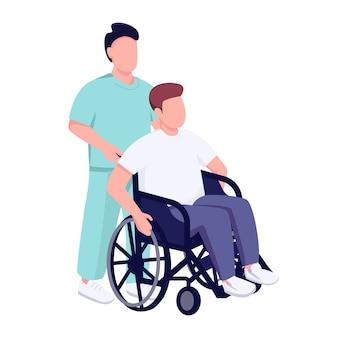 Paciente do hospital em caráter sem rosto de cor de cadeira de rodas.