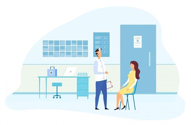 Paciente do sexo feminino com consulta especializada em otorrinolaringologia