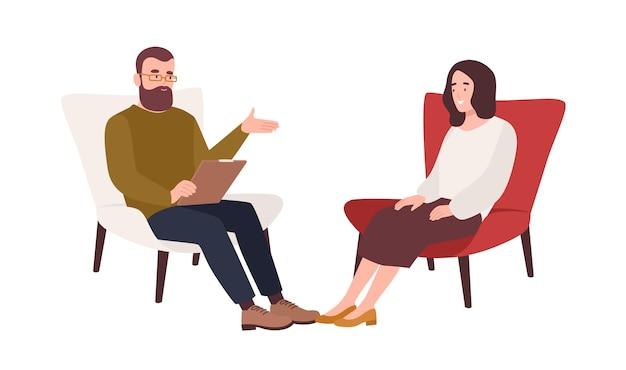 Paciente do sexo feminino na poltrona e psicólogo, psicanalista ou psicoterapeuta masculino sentado