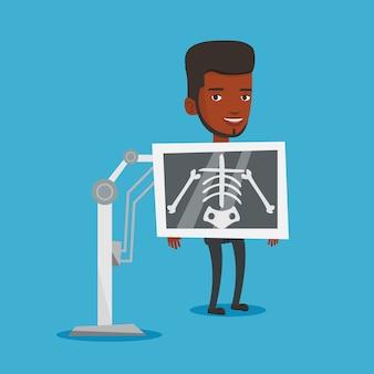 Paciente durante a ilustração do procedimento de raio-x