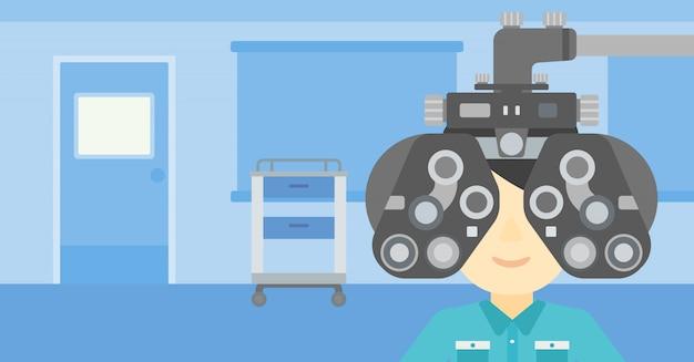 Paciente durante o exame oftalmológico