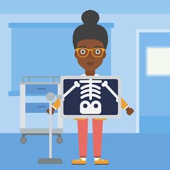 Paciente durante o procedimento de raio-x.