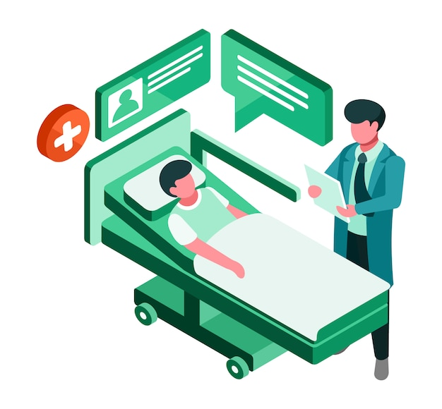 Paciente e médico isométrico