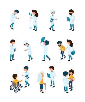 Paciente e médicos. equipe médica e pacientes em trabalhadores de hospital de recepção clínica ajudam pessoas isométricas de cuidados de saúde
