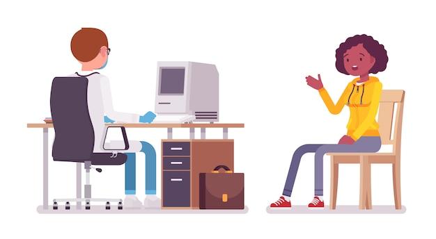 Paciente e terapeuta médico masculino. homem do médico no uniforme do hospital que aceita a jovem mulher negra. conceito de medicina e saúde. ilustração dos desenhos animados de estilo no fundo branco