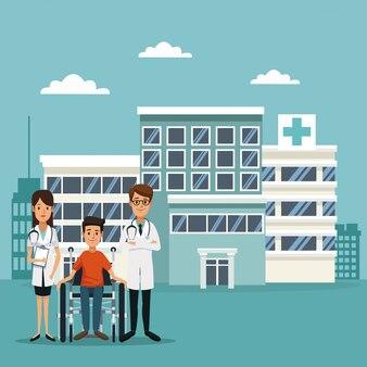 Paciente em cadeira de rodas e médicos especializados