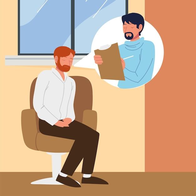 Paciente em clínica de psicóloga, consultando e conversando