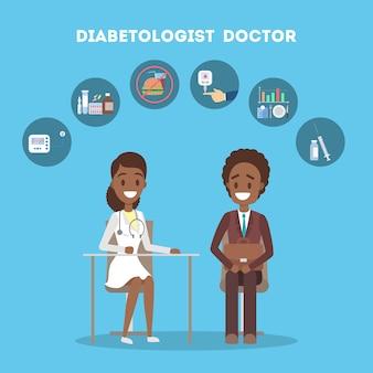Paciente em consulta com médico. tratamento de diabéticos e controle de açúcar. prevenção e diagnóstico do diabetes. ilustração