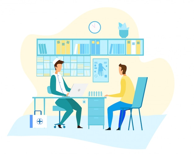 Paciente em consulta de traumatologista em clínica