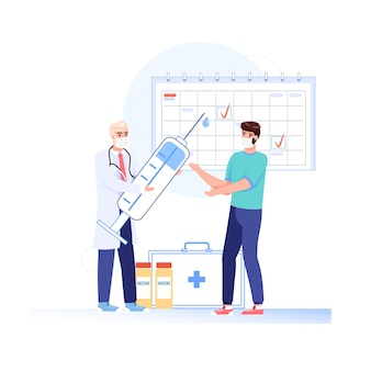 Paciente em estilo simples de desenho animado, personagens médicos em ilustração de máscaras faciais