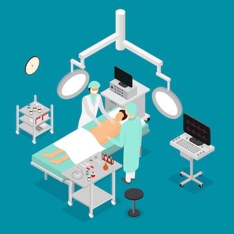 Paciente, enfermeira e doutor em cirurgia sala de cirurgia interior da clínica vista isométrica