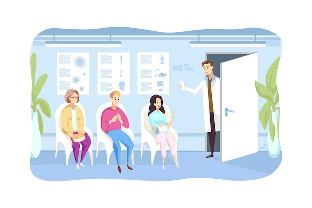 Paciente, exame, queque, conceito de medicina. médico chama pessoas esperando personagens de desenhos animados de homens e mulheres sentados na fila no corredor do hospital para o gabinete.