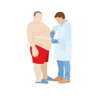 Paciente gordo do sexo masculino é submetido a medições de índice de massa corporal, o médico mede o abdômen do paciente