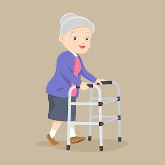 Paciente idoso com andador ortopédico