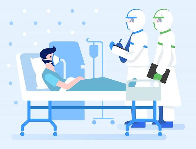 Paciente infectado com covid-19 em sala de pressão negativa.