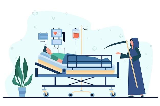Paciente morrendo na unidade de terapia intensiva