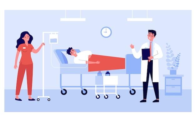 Paciente na cama recebendo terapia intensiva no quarto do hospital