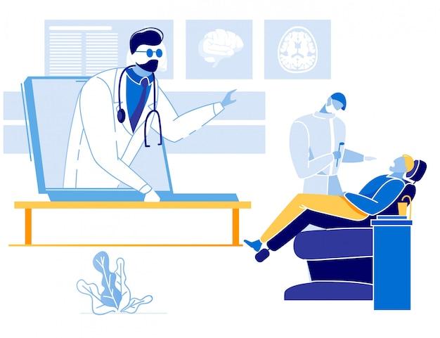 Paciente na consulta com o dentista e ajuda on-line
