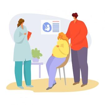 Paciente na ilustração de consulta médica, mulher grávida dos desenhos animados, conversando com o médico no hospital em branco