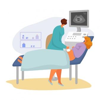 Paciente na ilustração de consulta médica, personagem de especialista em mulher dos desenhos animados, digitalização grávida em branco