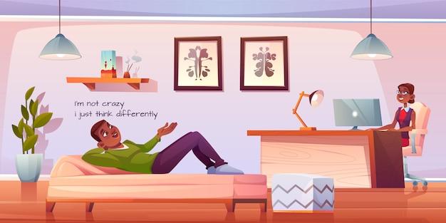 Paciente na ilustração de escritório de psicólogo