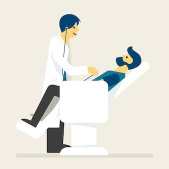 Paciente obter verificação de saúde com ilustração de médico