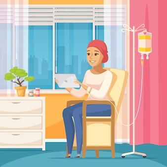 Paciente oncológico e conta-gotas intravenosa Vetor grátis